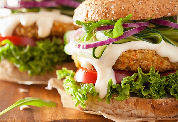 hamburguesa vegana de quinoa