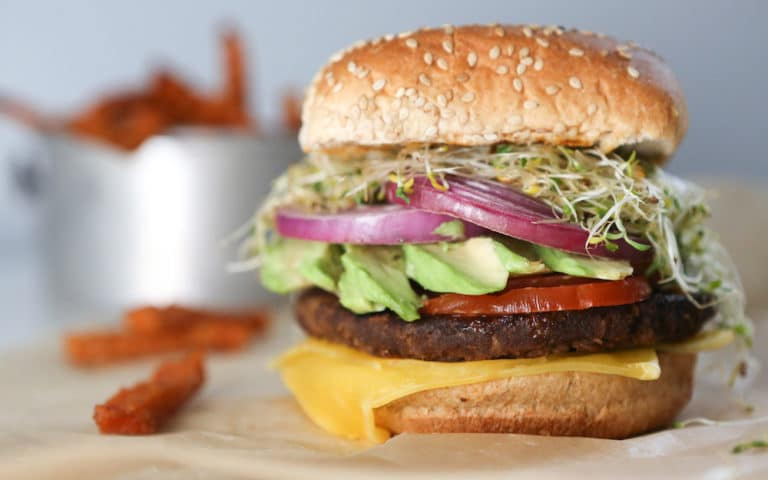 California Burger with Avocado & Baked Sweet Potato Fries