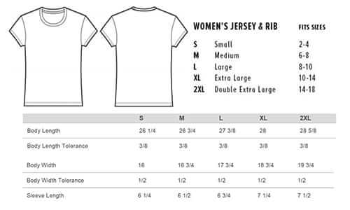 Sizing chart for 'Believe' Fitted T